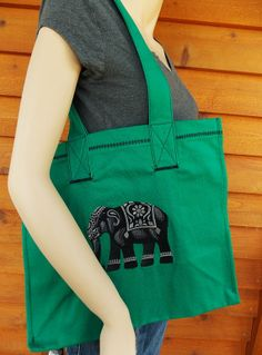 green embroidered handmade  elephant tote