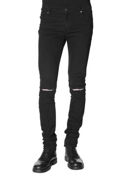 Cheap Monday Image 1 of Tight Rip Black Jeans in Rip Black