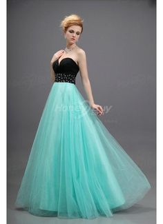 "Girl Sweetheart Neckline Floor Length Blue Tulle Dress For Prom    Hey-- does this mean the ""slutty slapper"" prom look has left the scene?  this is really nice, like fresh old hollywood or something.  I'd wear this."