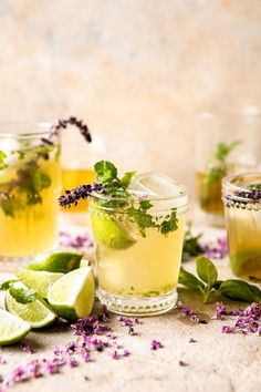 I could not be more obsessed with this White Tea and Muddled Basil Mojito. Fresh brewed white tea mixed with a splash of rum and honey, muddled with mint and basil, and topped off with Brunch Recipes, Cocktail Recipes, Nacho Recipes, Brunch Ideas, Drink Recipes, Yummy Recipes, Yummy Food, Mojito Cocktail, Cocktail List