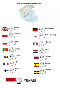 Good to know my country's name is yunami 😂 Crazy Funny Memes, Wtf Funny, Funny Jokes, Hilarious, Greek Language, Different Words, Good Jokes, Things To Know, Best Funny Pictures