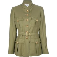 CHANEL VINTAGE embellished button military jacket (89.730 RUB) ❤ liked on Polyvore featuring outerwear, jackets, chanel, coats, brown wool jacket, brown military jacket, embellished military jacket, stand collar jacket and vintage jackets