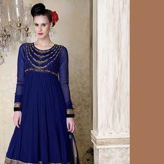 Blue Net Readymade Anarkali Churidar Kameez