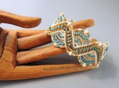 Beachy Beaded Micro Macrame Bracelet Turqouise by KnotJustMacrame