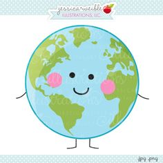 Smiling Earth - JW Illustrations - cute little Earth graphic with a smiling face, arms and legs!