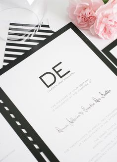 Black and white wedding invitations.  Modern, timeless and classic.