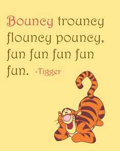 Inspirational Quote: Bouncy trouncy flouncy pouncy, fun fun fun fun fun, Tigger, Winnie the Pooh, Home Decor, Nursery, 8x10 Art Print by NestedExpressions, $15.00
