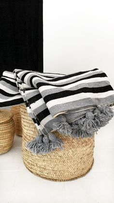 Image of Moroccan POM POM Cotton Blanket - Black and Grey Stripes
