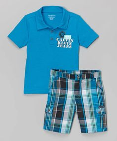 Loving this Blue Polo & Black Plaid Shorts - Infant, Toddler & Boys on #zulily! #zulilyfinds