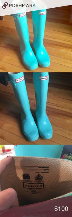 HUNTER Tiffany blue boots Gorgeous Tiffany blue boots. Excellent used condition. Minor wear. Hunter Boots Shoes Winter & Rain Boots