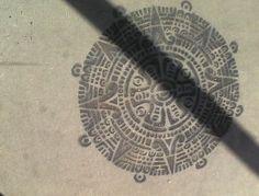 Sidewalk stencil outside Jobot cafe on Roosevelt