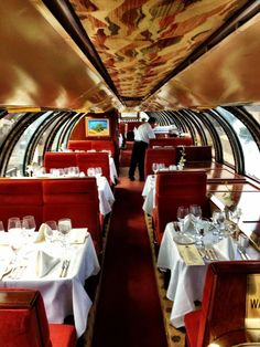 The Napa Valley Wine Train. My husband had my birthday dinner there once. The one we were on was The Murder Mystery Train. We solved Agatha Christie's: Murder on the Orient Express. It was sooooo much fun!