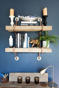 Teri and her father made these salvaged wood shelves and the desk below together.