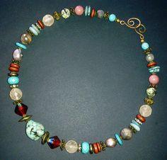 Multicolor Semiprecious Stones Necklace-Boho by LenaHarmanDesigns