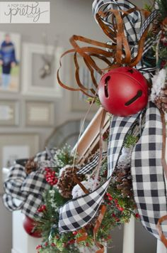 Cottage Christmas decor staircase railing 2 - MY World Frozen Christmas Tree, Christmas Tree Storage, Plaid Christmas, Country Christmas, Canadian Christmas, White Christmas, Cabin Christmas, Christmas Christmas, Xmas