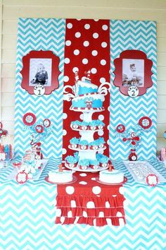 Cute chevron print party table BACKDROP at a Dr Seuss Thing 1 Thing 2 party via Kara's Party Ideas karaspartyideas.com #backdrop #dr #seuss #thing #1 #thing #2 #chevron #fabric #table
