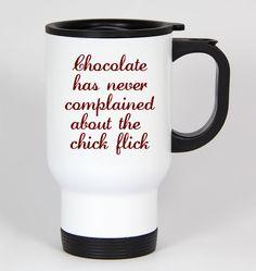 Choc Chick Flick #67 - Funny 14Oz White Travel Mug Cup Valentine'S Day