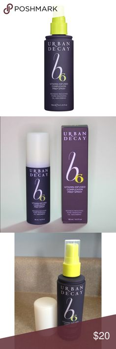 Authentic Urban Decay B6 Complexion Prep Spray A soothing prep spray that features the first stabilized form of vitamin B6, which absorbs oil, minimizes pores, and reduces redness.  Spritz on this soothing spray any time of day to hydrate, prep, and soften skin with vitamins and antioxidants. Use it in the morning to prep and wake up your skin, during the day to for a quick refresh that won't mess up your makeup, or at night before your treatment. Versatile enough for people of all ages and…