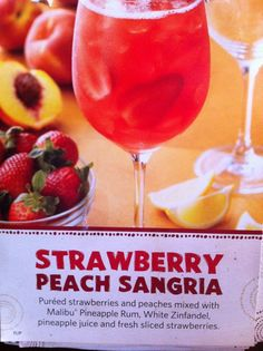 pureed strawberries and peaches mixed with malibu pineapple rum, white zinfandel, pineapple juice and fresh sliced strawberries