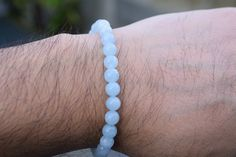 A simple but beautiful bead beacelet made with aquamarines. This gem has become increasingly rarer in recent years and demand really seems to have gone up. Aquamarine Bracelet, Aquamarines, Sterling Silver Jewelry, Beaded Bracelets, Gems, Simple, Beautiful, Pearl Bracelets, Rhinestones