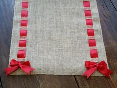 wide Premium Natural Burlap Table Runner with Satin Ribbon and Fringe Red Christmas, Christmas Crafts, Christmas Decorations, Crochet Towel, Burlap Table Runners, Burlap Ribbon, Little Bow, Nouvel An, Red Satin