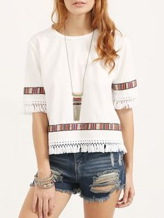 Tribal Embroidery and Fringe Top Regular Fit Round Neck Half Sleeve Beige Vintage Embroidered Fringe Elbow Sleeve Blouse Blouse Styles, Blouse Designs, Tops Boho, Sewing Blouses, Embroidery Blouses, Casual Tops For Women, Women's Casual, Shirt Blouses, Shirts