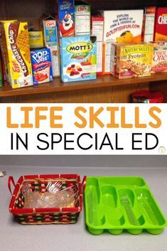 Do you teach life skills in your special education classroom? We used our instructional kitchen to work on basic functional life skills like putting away groceries, sorting silverware, and more! Preschool Life Skills, Life Skills For Children, Life Skills Lessons, Life Skills Classroom, Life Skills Activities, Teaching Life Skills, Preschool Schedule, Classroom Hacks, Classroom Door