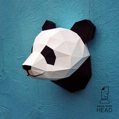 Papercraft panda head - printable DIY template