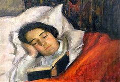 """Aneri."" Self-portrait in bed, reading. The 20th century artist Irena Silberberg, better known by her pseudonyms of ""Aneri"" or ""Renia."""