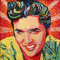 Elvis Presley portrait in jelly beans by Roger Rocha - photo from Jelly Belly; x 10 different flavors were used in Elvis' hair Jelly Belly Beans, Jelly Beans, Sin Gluten, Sculpture Art, Sculptures, Weird Art, Various Artists, Portrait Art, Mosaic Art