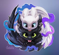 HTTYD 3 Toothless& new female night fury Cute Disney Drawings, Cute Animal Drawings, Kawaii Drawings, Toothless And Stitch, Toothless Dragon, How To Train Dragon, How To Train Your, Photo Pokémon, Cute Dragons