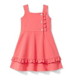 Girl Coral Ruffle Ponte Dress by Janie and Jack Baby Girl Dress Design, Girls Frock Design, Dress Girl, Baby Girl Frocks, Frocks For Girls, Baby Frocks Designs, Kids Frocks Design, Stylish Dresses For Girls, Little Girl Dresses