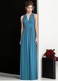 Elegant Chiffon & Stretch Satin A-line V-neck Raised Waistline Full-length Bridesmaid Dress