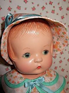"ALL COMPOSITION VINTAGE 13 1/2"" EFFANBEE SLEEP EYE PATSY DOLL W/ TAG RE-DRESSED"