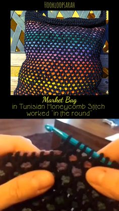 PATTERN for market bag in Tunisian Honeycomb stitch worked in the round - Diy and crafts interests Tunisian Crochet Patterns, Knitting Patterns, Lace Patterns, Lace Knitting, Tunisian Crochet Blanket, Slip Stitch Knitting, Crochet Crafts, Crochet Projects, Honeycomb Stitch