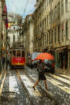 "☂ Jour de pluie - Illustrations"" ☂ by Eduard Gordeev Walking In The Rain, Singing In The Rain, Rain Photography, Street Photography, Landscape Photography, Rainy Day Photos, City Rain, Rainy City, I Love Rain"