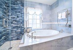Custom Bathroom Mosaics | New Ravenna Mosaic Bathroom, Mosaic Tiles, Backsplash Tile, Backsplash Ideas, Ravenna Mosaics, Mediterranean Bathroom, New Ravenna, Glass Brick, Stone Mosaic