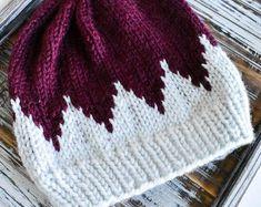 fair isle beanie // gifts for her // knit beanie // fair isle knit // slouchy beanie // fair isle knit hat // gift // timberline beanie - Baby Mütze Stricken Knitting Patterns Free, Knit Patterns, Baby Knitting, Knit Crochet, Crochet Hats, Fair Isles, Beanie Pattern, Slouchy Beanie, Fur Pom Pom