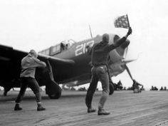 An SB2C Helldiver of VB-84 prepares to launch from BUNKER HILL on 16 February 1945. -U.S. Navy photo in NARA record group 80-G-303994