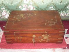 MAGNIFICENT Antique Wooden Jewelry Box with Brass Inlay! from Dorian's Doll Room on Ruby Lane