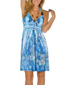 Blue Sublimation Halter Dress