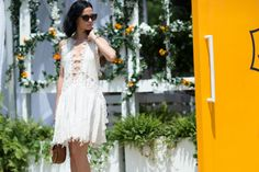 Leigh Lezark in Chloe. ELLE.com photographer Tyler Joe captures the chicest street style moments from Veuve Cliquot Polo Classic in New York City's Liberty Island, where Hollywood's finest gathered to kick off summer.