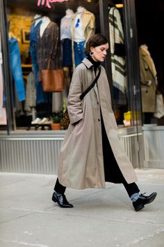 the masculine tailoring and shoes with great earrings. Jo Ellison