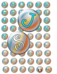 Beachball alphabet  4x6 Digital Collage Sheet by groovygraphics