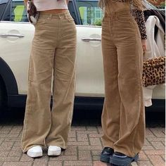 Indie Outfits, Cute Casual Outfits, Fashion Outfits, Fashion Pants, 90s Fashion, Brown Pants Outfit, Outfits With Brown Pants, Plazzo Pants Outfit, Wide Pants Outfit