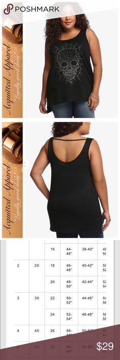 (Torrid) NWOT Skull Tank Skulls are one of the hottest trends right now. Good thing you always stay one step ahead: this black knit tunic tank has the silver tone skull graphic you need! The semi-sheer knit is finished off with a deep scoop back and a strap detail. Torrid size 5 which is equal to 28W or 5X according to their size chart. torrid Tops Tank Tops