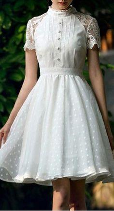 Polka dot lace sleeve dress