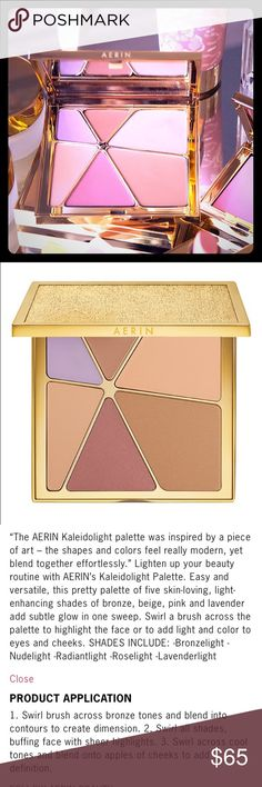 AERIN Kaleidolight illuminating Powder Palette NIB AERIN Kaleidolight illuminating powder palette. Comes new in box and dust pouch. Gold tone palette. Please view all photos and ask any questions you may have prior to purchasing    ❌Trades❌ ✨Please Note: this did not come with any type of brush✨ Estee Lauder Makeup
