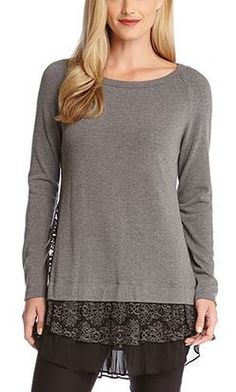 Love Love LOVE the Different Layers of Fabrics! Black and Grey Lace Inset Sweater Fashion #Black_and_Grey #Lace #Insets #Layered #Lacy #Ruffles #Sweater #Fashion