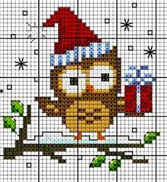 Gufo Natale - punto croce
